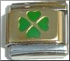 Gold Irish Four Leaf Clover Italian charm