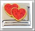 Double Hearts, red glitter Italian Charm