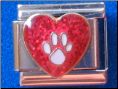 Dog Paw in Heart - Red or Blue Glitter