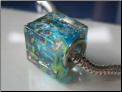 Blue Ocean Glass Cube Bead