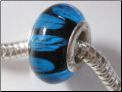 Blue on Black Glass Bead