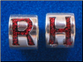 Glitter Red Letter  European style Sterling Silver bead