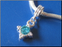Aqua Dangle Silver Plated Bead