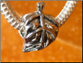 Fall Leaf Silver European Bead