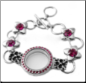 Locket Bracelet Red with Toggle clasp Adjustable