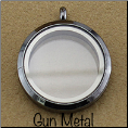 Gun Metal Round Magnetic Floating Locket