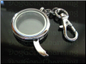Circular Locket Key Chain with side pin Clip on