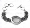 Locket Bracelet Circle Pattern with Toggle clasp Adjustable