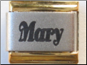 Mary Laser italian charm   gold trim