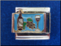 Wine Bottle Grapes Glass Magnetic Italian charm