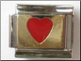 Classic Red Heart on Gold 18 kt Italian Charm
