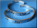 Love me   Love my cat   Cuff Sterling silver bracelet
