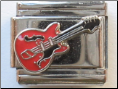 Elvis Red Guitar Italian Charm