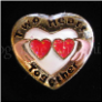 Two Hearts Together Red Wht IRISH Floating Locket Charm
