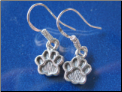 Dangle Dog Paw Sterling SIlver Earrings