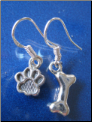 Dangle Dog Paw & Bone Sterling SIlver Earrings