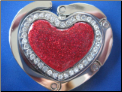 Red Glitter Heart Hand painted purse hook