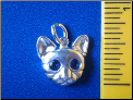 Polished Sterling Silver Tabby Cat pendant