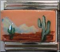 Cactus Desert Mountains   Hand Painted