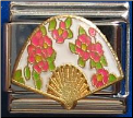 Asian Style Fan w/Flowers - In stock!