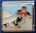 Downhill snow skiier 9 mm Italian charm