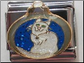 Blue Ornament  White Cat Italian charm