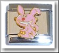 Smiling Bunny, pink Italian Charm