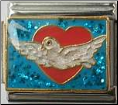 Dove of peace in heart -  Blue glitter