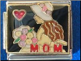 MOM   pink hat & flowers   black 9 mm Italian charm