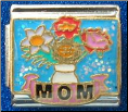 Mom Flowers & Vase blue Italian charm