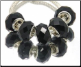 Black Crystal Bead Silver Core