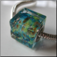 Peacock Greens Glass Cube Bead