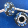 Blue Flowers on Black CLAY Bead