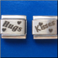 Hugs Kisses   set of 2 Laser Italian charm