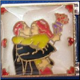 Kissing Couple w/flowers 9 mm Italian charm