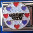 Great Mom White Glitter Italian Charm