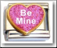 Be Mine Heart, pink glitter Italian Charm
