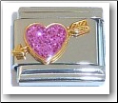 Heart & Arrow, pink glitter Italian Charm