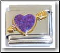 Heart & Arrow, purple glitter Italian Charm