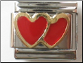 Double red Hearts 18 kt Italian Charm