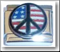 Peace Sign on US Flag  Italian Charm
