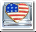Heart USA Flag Italian Charm