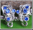 Blue Butterfly Silver Plated Bead