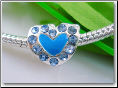 Blue Heart Silver Plated Bead