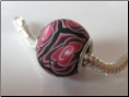 Rose Petals Black CLAY Bead