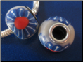 Blue Daisy with Red  CLAY Bead