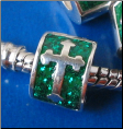 Celtic Cross  Glitter Sterling Enamel Bead