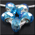 Baby Blue December Crystal Bead Silver Core