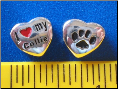 Bead   I love my Collie Dog w/paw    Sterling Silver
