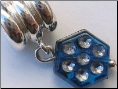 Blue Octagon Dangle Sterling Silver bead